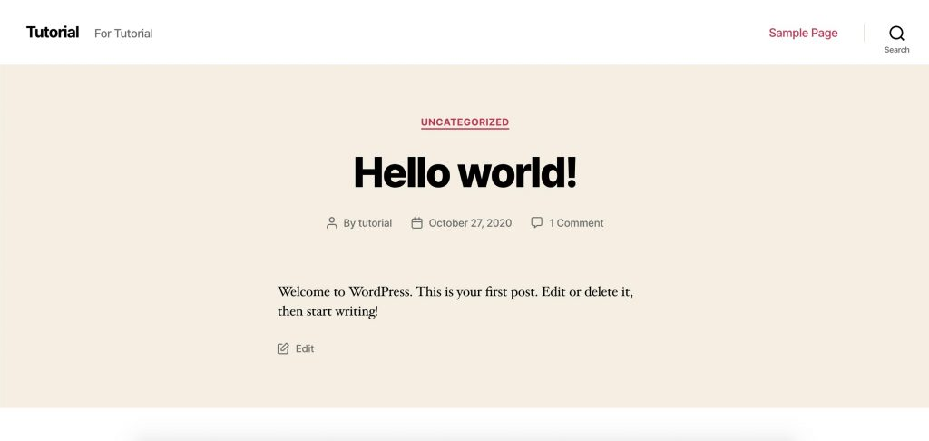 Hello World WordPress Theme Preview